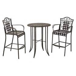 mandalay 3 piece iron bar height patio bistro furniture