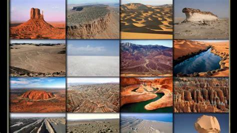 types  desert landforms canyon mesa erg wadi
