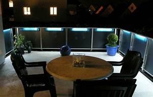 balkon und garten lampen leuchten moderne coole ideen With französischer balkon mit led beleuchtung im garten