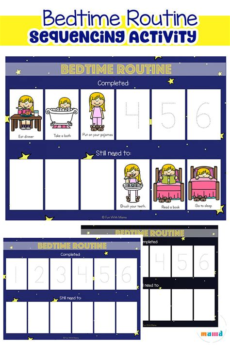 toddler bedtime routine chart sequencing activity 832 | bedtime routine printable for preschoolers