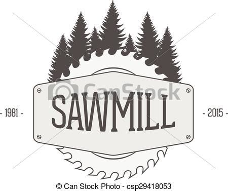 vintage vector label  sawmill woodworking company