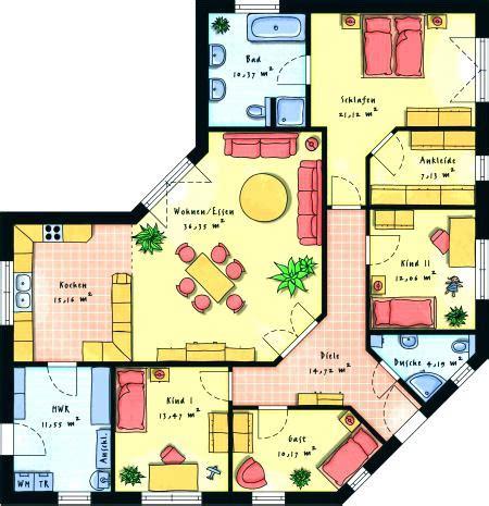 Winkelbungalow Grundriss 150 Qm by Grundrisse Bungalow Grundriss 150 Qm 5 Zimmer 4 Mit Garage