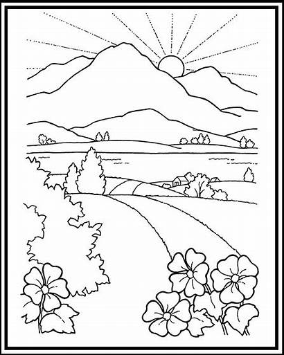 Coloring Scenery Pages Mountain Sunset Landscape Road