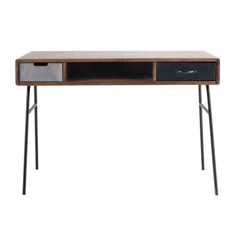 bureau vintage industriel solid mango wood vintage desk w 115cm lenox maisons du monde