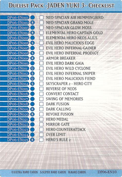 Jaden Yuki Deck List Season 2 by Duelist Pack Jaden Yuki 3 Checklist Yu Gi Oh