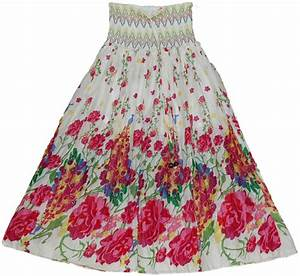 Colorful Maxi Dress Skirt with Smocking | Clearance | White-Skirts dress Sale|9.99|