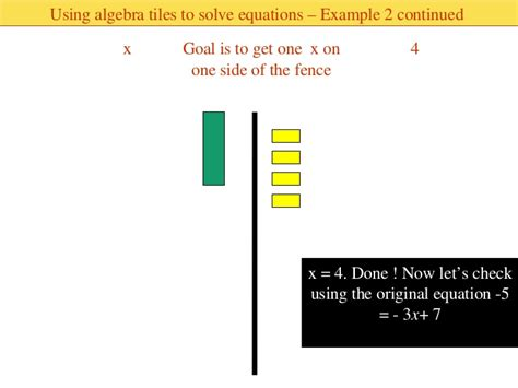 algebra tiles solving equations solving two step equations using algebra tiles