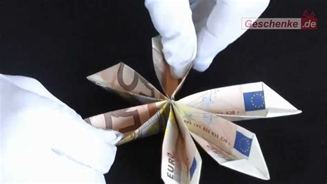 origami faltanleitung geldschein blume basteln diy