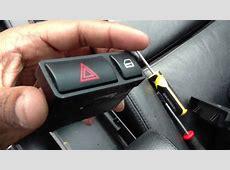 BMW center console hazard and main lock switch YouTube