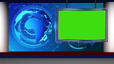 Broadcast Tv Studio Green Screen Background Stock