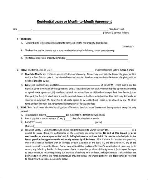 12 Month Lease Agreement Template by 7 Sle Month To Month Lease Agreements Sle Templates