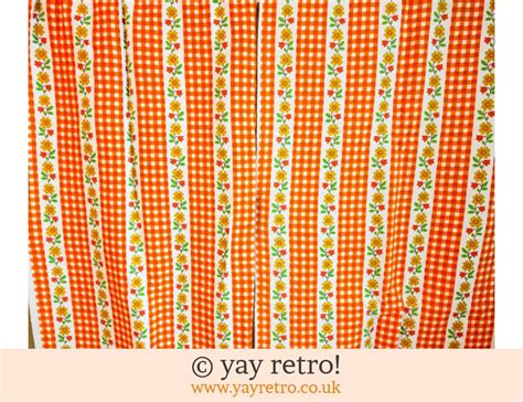 orange  curtains material buy yay retro handmade