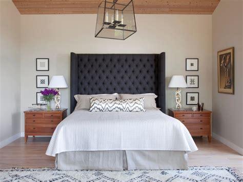 dark gray grey upholstered headboard tufted linen neutral
