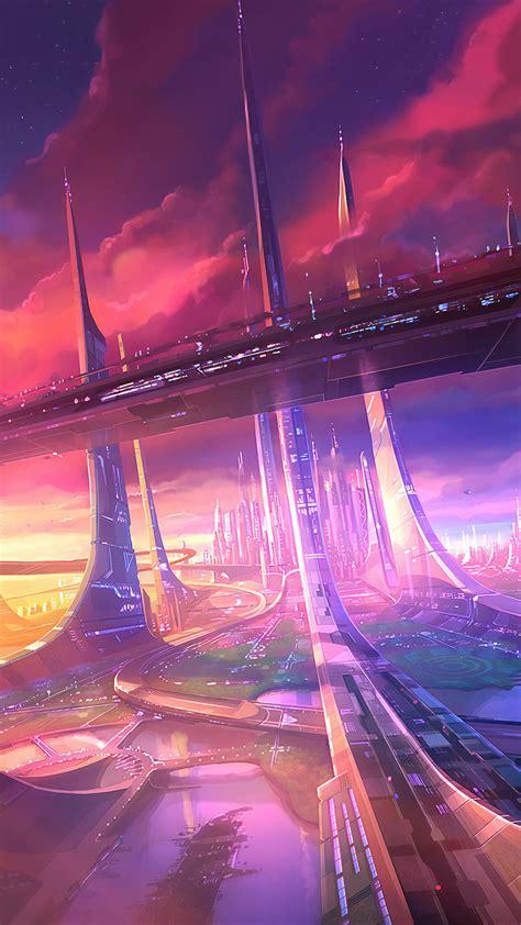 Wallpaper Futuristic City Megacity Metropolis