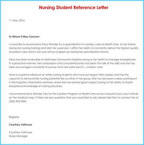 nursing reference recommendation letters  samples
