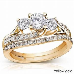 gia certified 1 carat trilogy round diamond wedding ring With gold wedding set rings