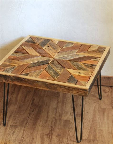 star pattern coffeeside table  hairpin legs barn