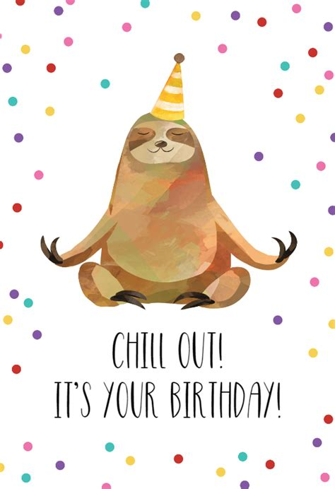 happy sloth birthday card   island