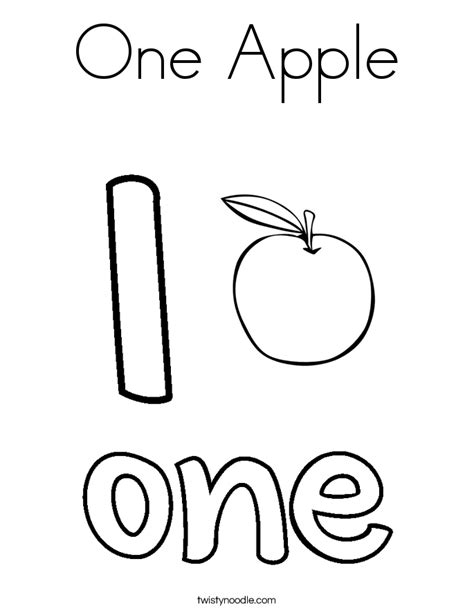 Coloring Number 1 by One Apple Coloring Page Twisty Noodle