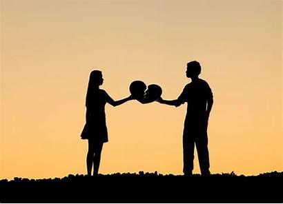 Broken Relationship Heart Mend Couple Break Silhouette