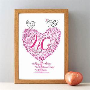 40th ruby wedding anniversary gift print by wetpaint for Gift for 40th wedding anniversary