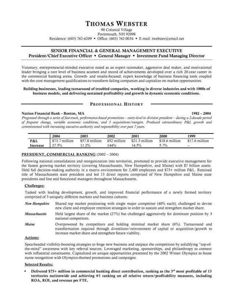 banking executive resume templates banking executive resume exle http topresume info