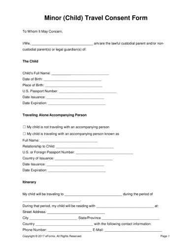 authorization letter   child  travel examples
