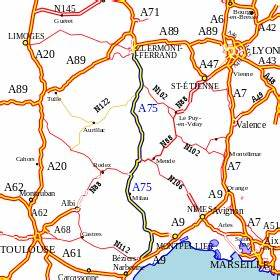Carte De France Autoroute : autoroute a75 france wikimonde ~ Medecine-chirurgie-esthetiques.com Avis de Voitures
