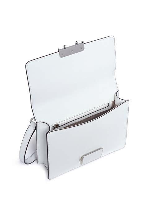 michael kors cynthia small leather shoulder bag  white lyst