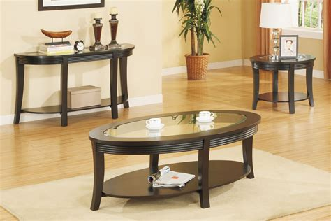 Oval Coffee Table Set, Matching Console and End Tables   Huntington Beach Furniture
