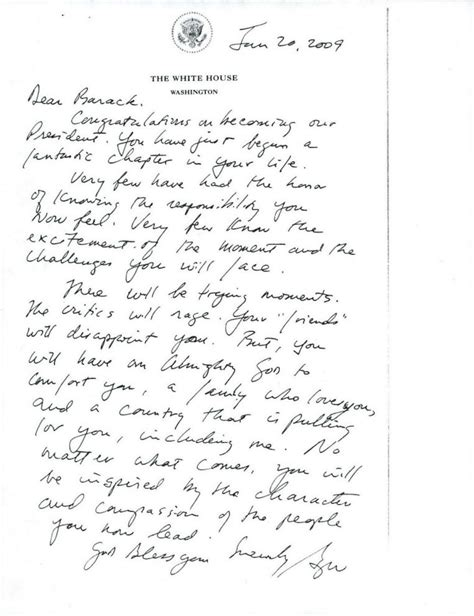 bush letter to obama on abc george w bush s inauguration day letter to 47566