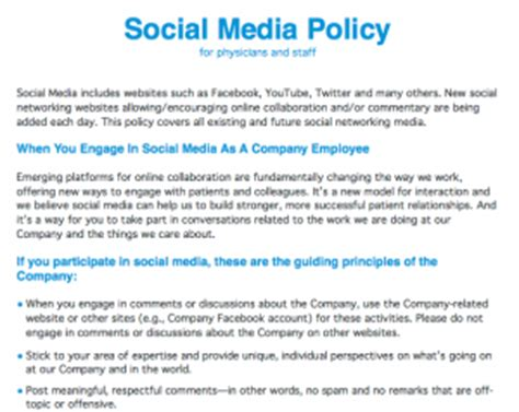 healthcare social media policy  physicians  staff