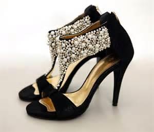black wedding shoes high heel pearl open back zipper sandals black wedding shoes vintage flowerweddingshoes