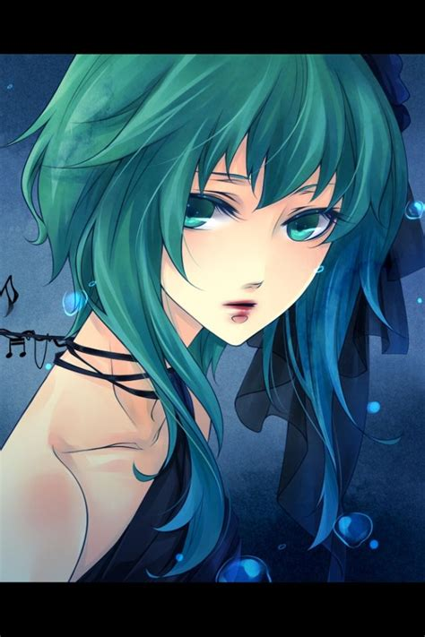 anime girl  green hair wallpaper  pinterest