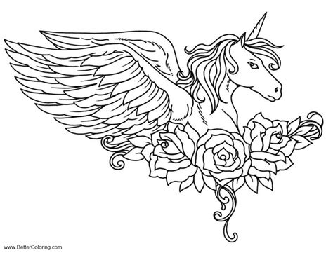 alicorn coloring pages pegasus  flower
