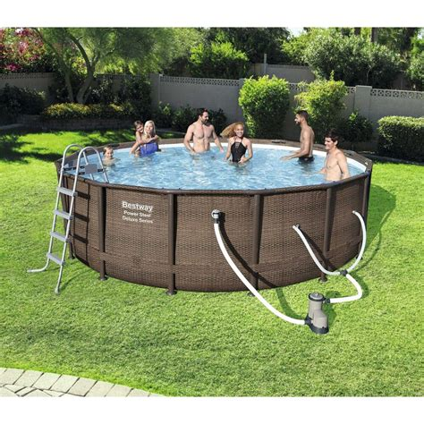 frame pool bestway bestway 16 x 48 quot power steel frame above ground swimming pool set with 821808151257 ebay