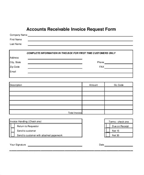 accounts receivable form 9 sle invoice request forms sle templates