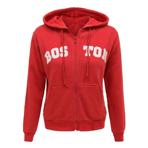 print hooded zip jacket womens boston print plain zip hoodie sweatshirt