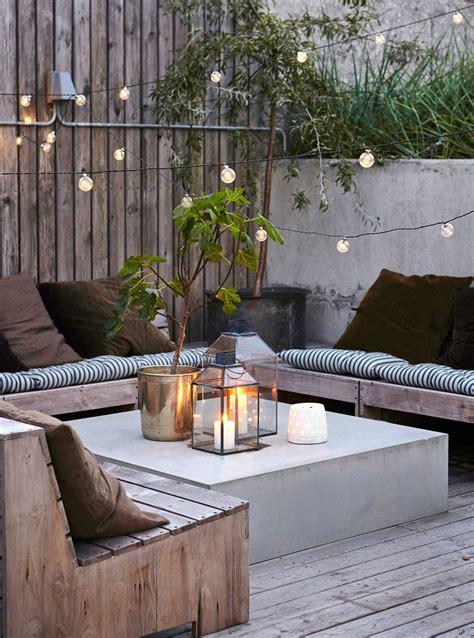 garten lounge ecke stimmung lichter garden design