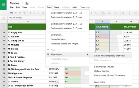 google drive updated with filter views for spreadsheets