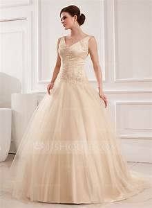 ball gown v neck chapel train tulle wedding dress with With robe couleur champagne