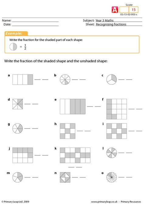 fraction worksheets for year 3 fraction free printable