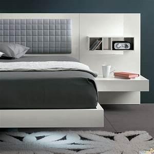Lit Chevet Suspendu : lit avec chevet integre maison design ~ Teatrodelosmanantiales.com Idées de Décoration