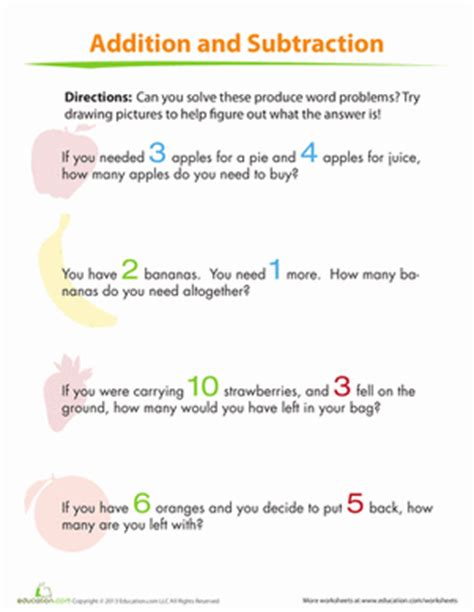 addition and subtraction for kids worksheet education