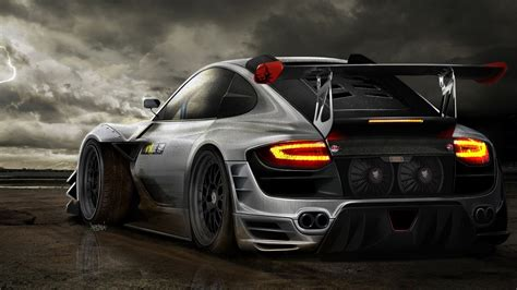 Tuning Black Porsche Wallpaper