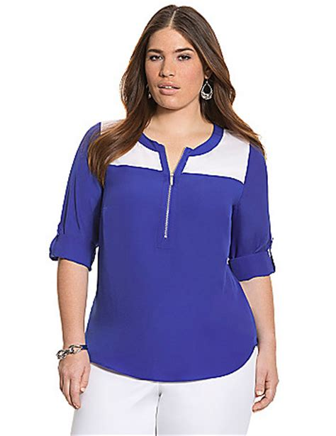 bryant blouses plus size plus size colorblock zipped blouse by bryant