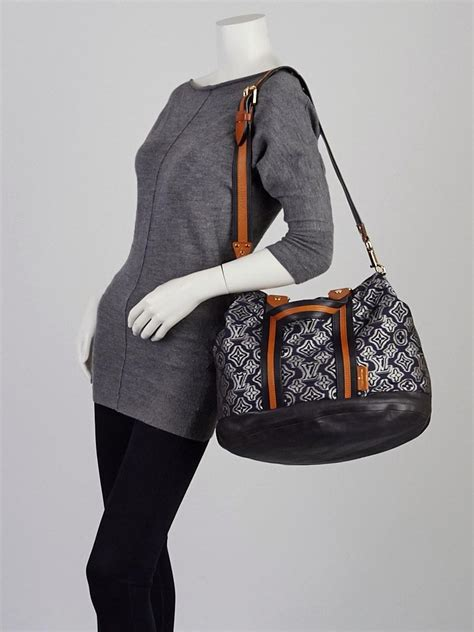 louis vuitton limited edition navy jacquard monogram fabric aviator bag yoogis closet
