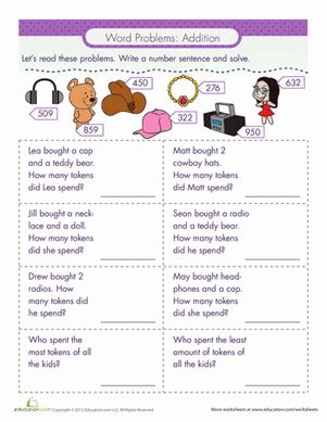 word problems addition worksheet education com