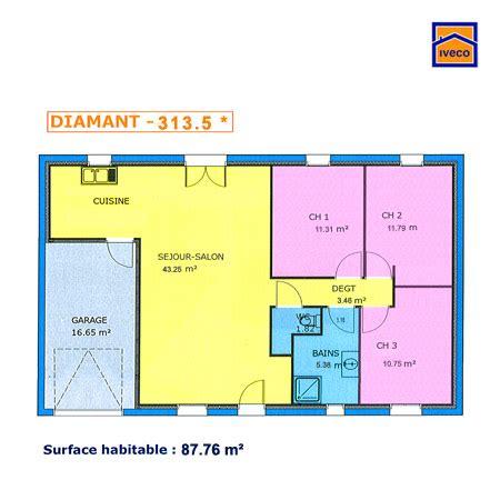 plan maison 90m2 3 chambres plan de maison individuelle plain pied
