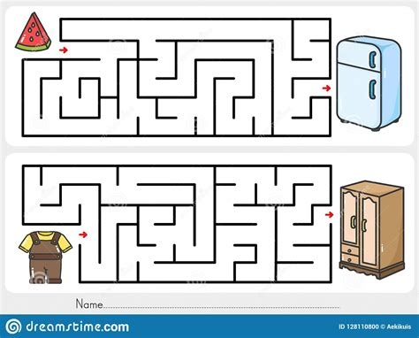 find the way worksheets keep your belongings find the way to closet and fridge worksheet for education stock vector